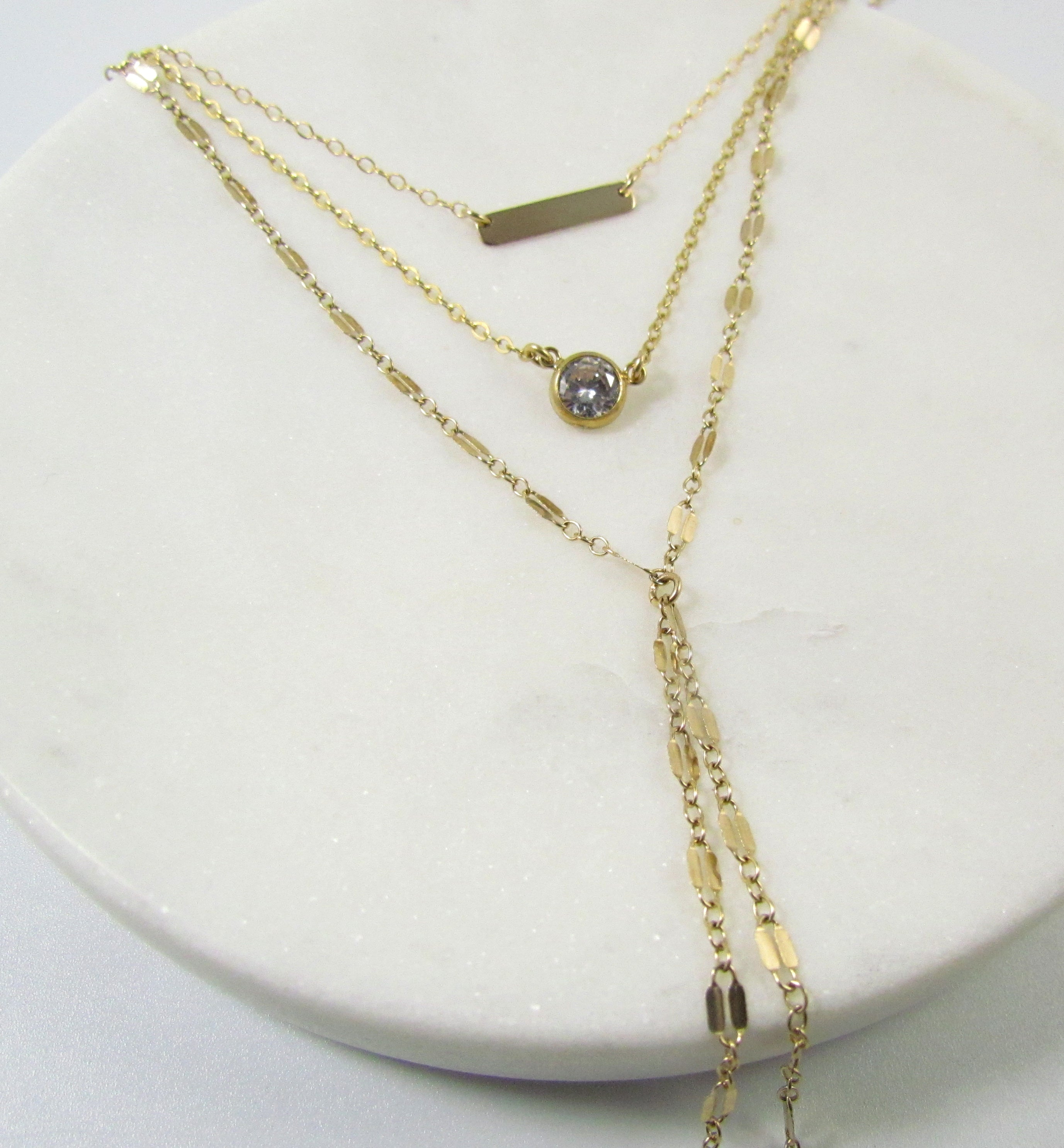 Set of 3  Layered Necklaces- Bar • CZ • Lariat