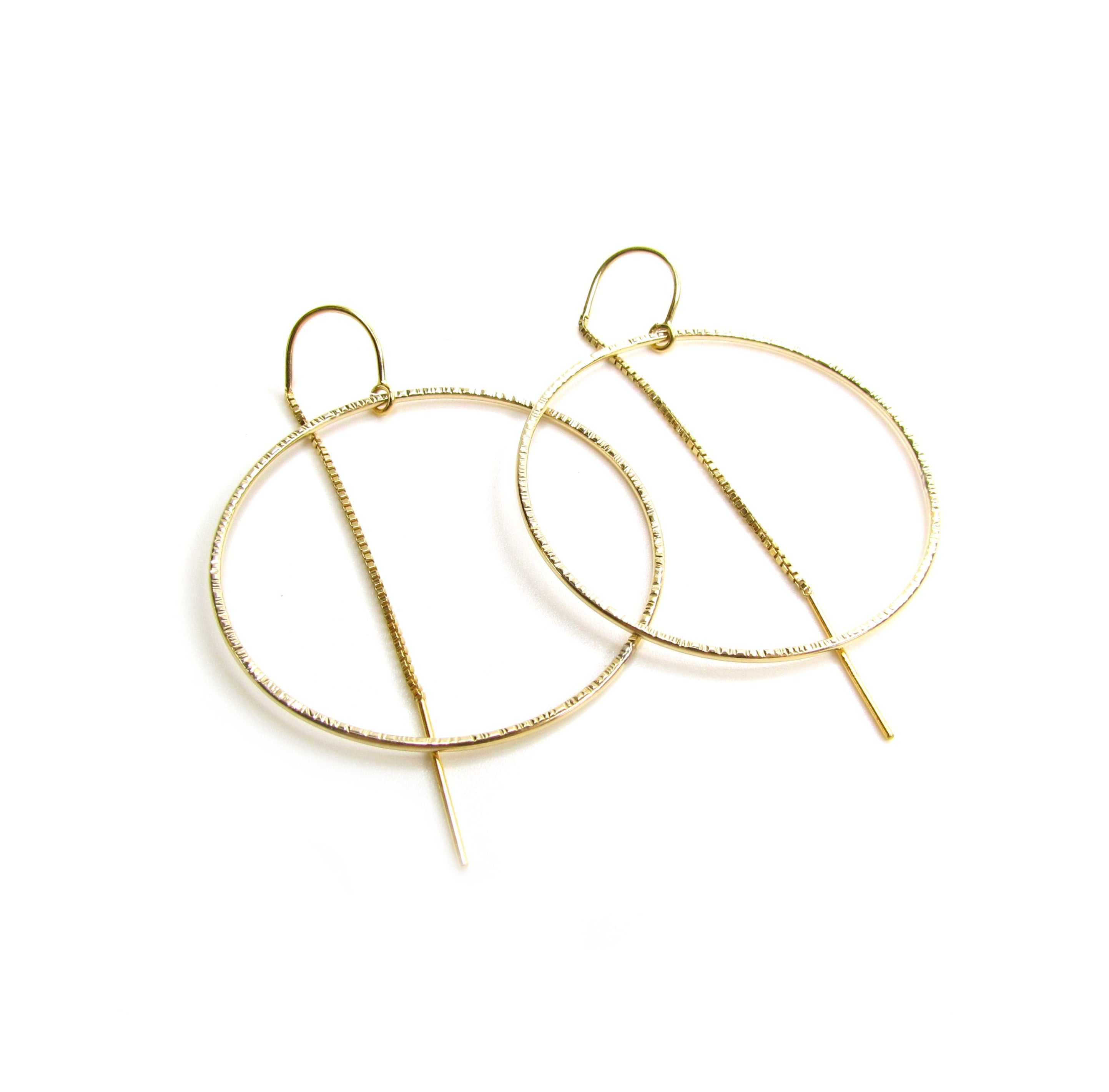 Textured Circle Hoop Threader Earrings