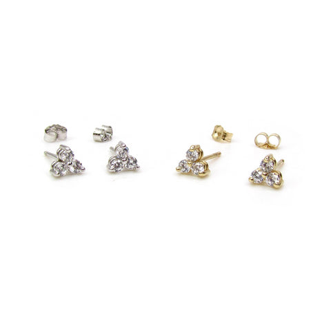 14K Solid Gold 3 CZ Stone Cluster