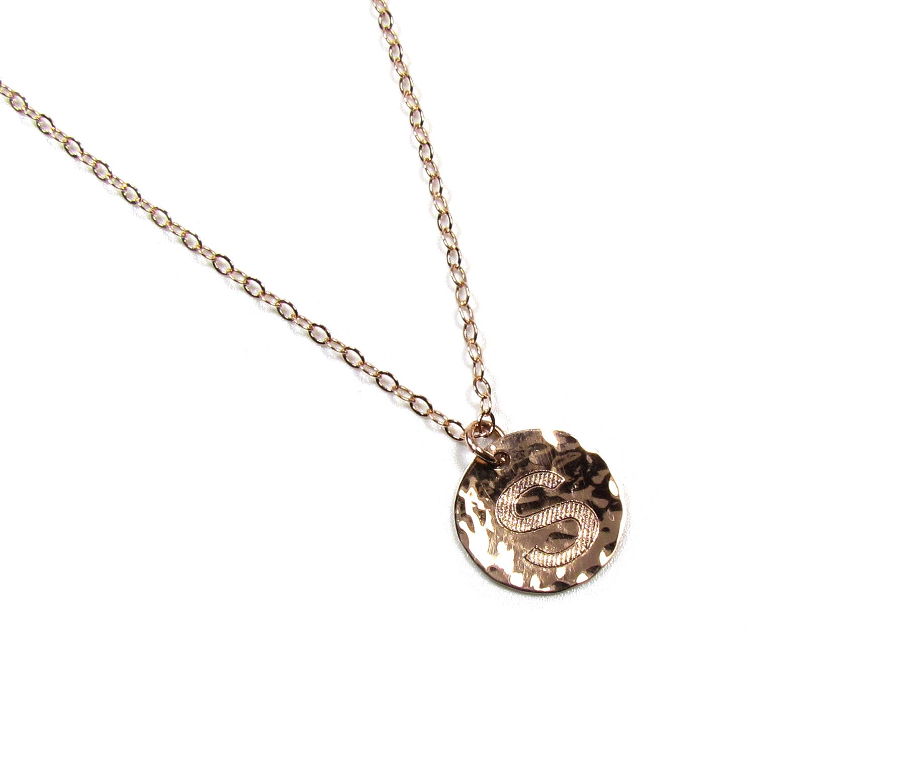 gold hammered p circle necklace metal silver
