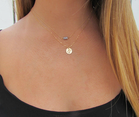 Hammered Disc Engraved Initial Necklace