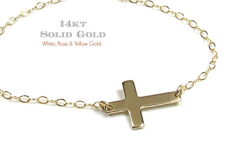 14KT Solid Gold Tiny Sideways Cross Necklace