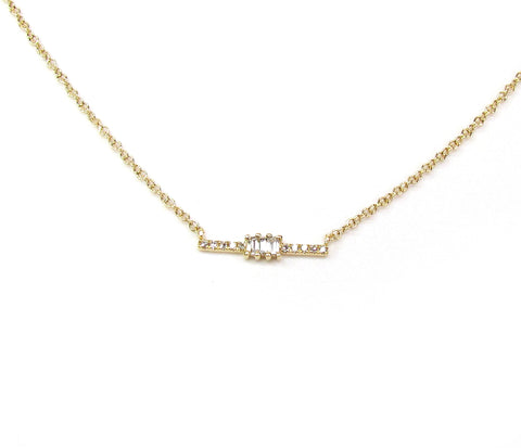 14K Baguette Diamond Bar Necklace