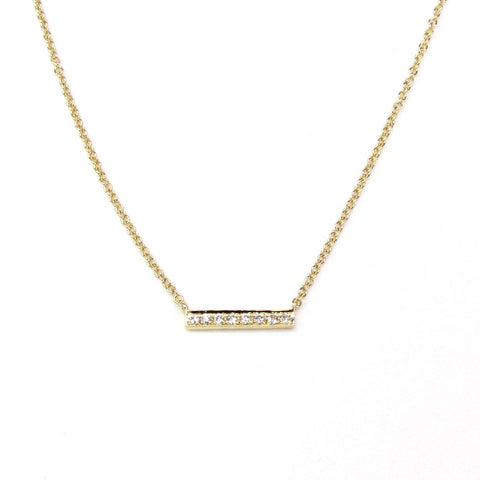 14K Diamond Mini Bar Necklace