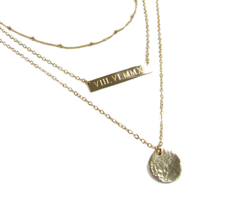 Set of 3 Layering Necklaces with Personalized Engraved Bar Necklace