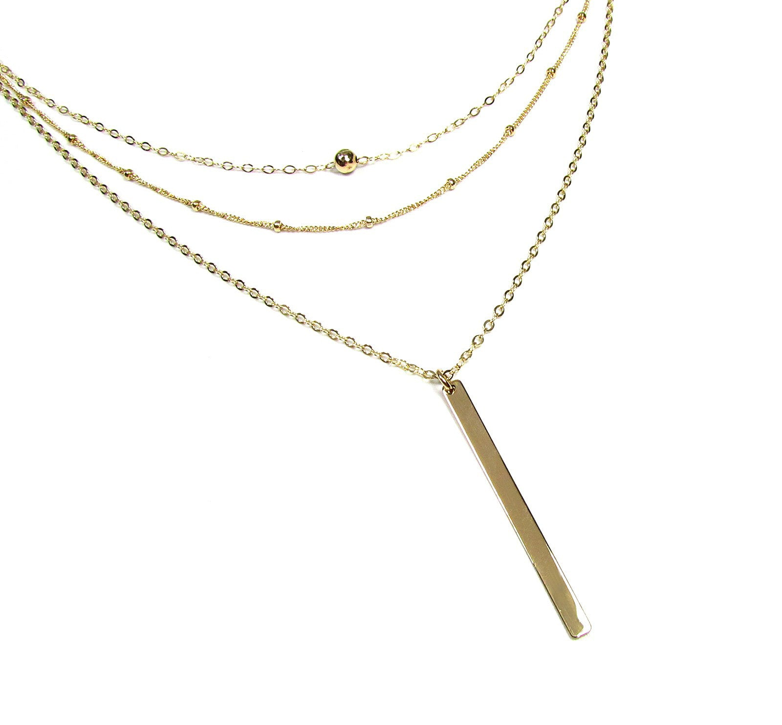 Set of 3 Layering Necklaces- Tiny Hammered Bead Necklace, Beaded Satellite Chain Necklace and Vertical Polished Bar Necklace
