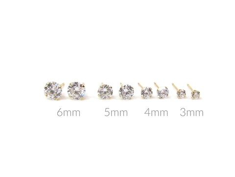 14k Solid Gold Solitaire CZ Studs