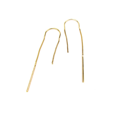 14kt Solid Gold Out of The Box Chain Threader Earrings