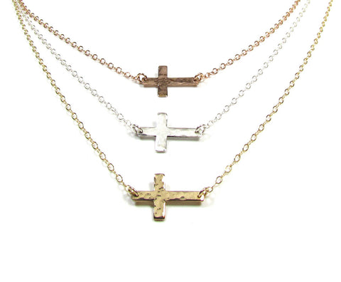 Tiny Hammered Cross Necklace