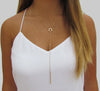 Circle and Bar Long Y Lariat Necklace