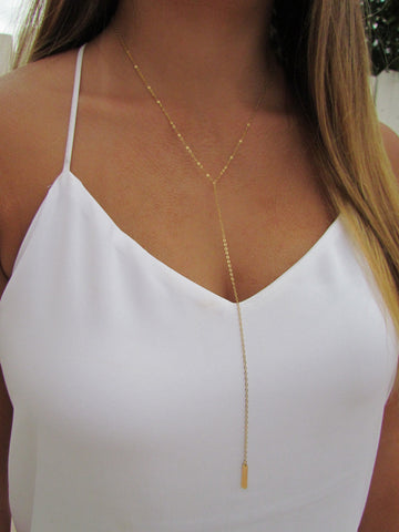 Long Y Mini Vertical Bar Necklace in 14KT Solid Gold