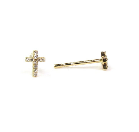 14K Solid Gold & Diamond Tiny Cross Studs