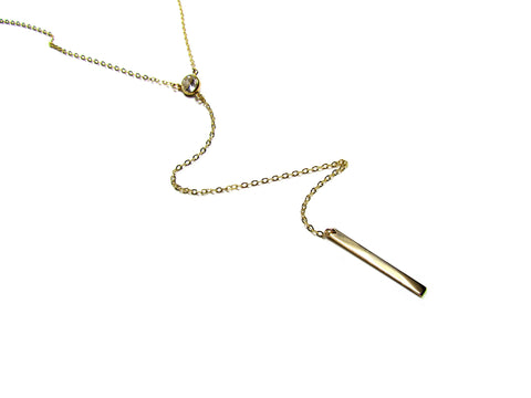 Long Y CZ & Bar Lariat Necklace