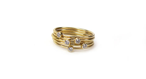 14K CZ Band Stack Ring