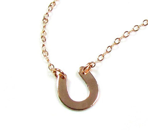 14KT Solid Gold Small Horseshoe Necklace