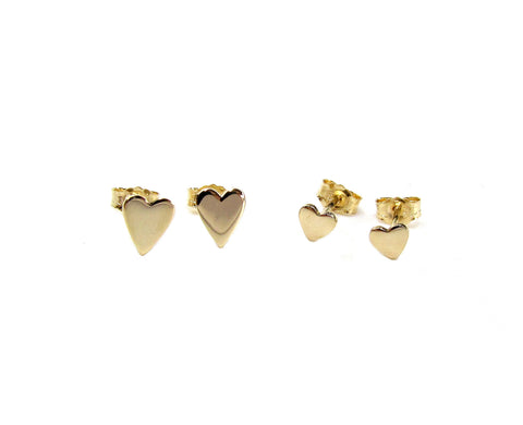 14K Solid Gold Heart Stud Earrings • 2 sizes