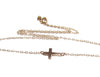 14KT Solid Gold Mini Sideways Cross Necklace