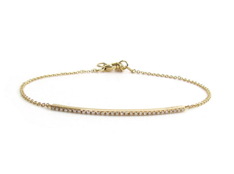 14k Gold Diamond Bar Bracelet