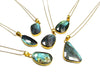 Large Bezel Labradorite Gemstone Pendant Necklace