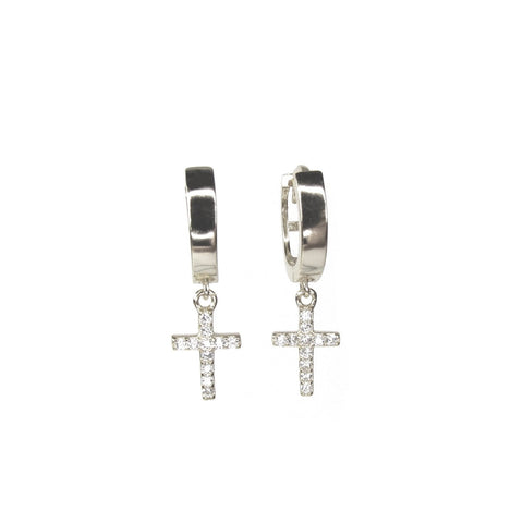 In Good Faith Cross Charm Hoops