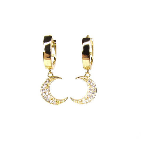 To The Moon Huggie Hoop Earrings