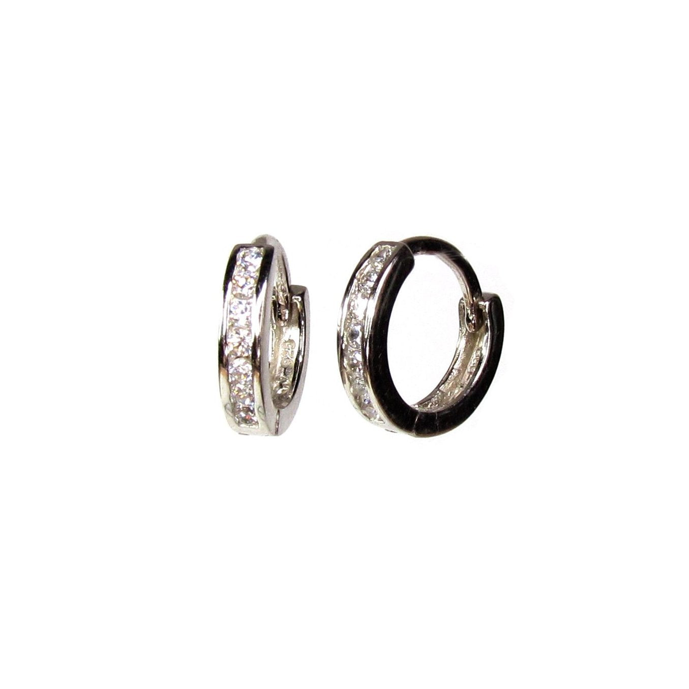 Sterling Channel Set CZ Huggie Hoops