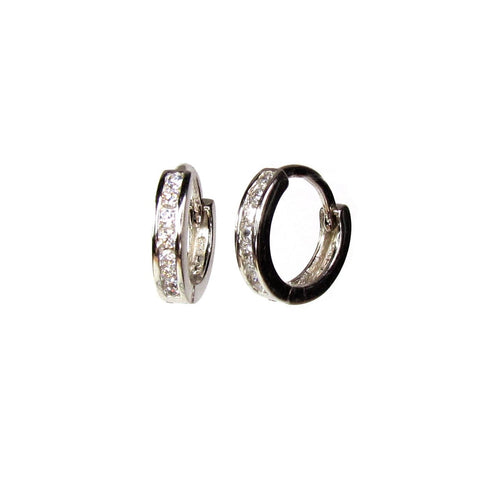 Tiny CZ Huggie Hoops • Sterling Silver