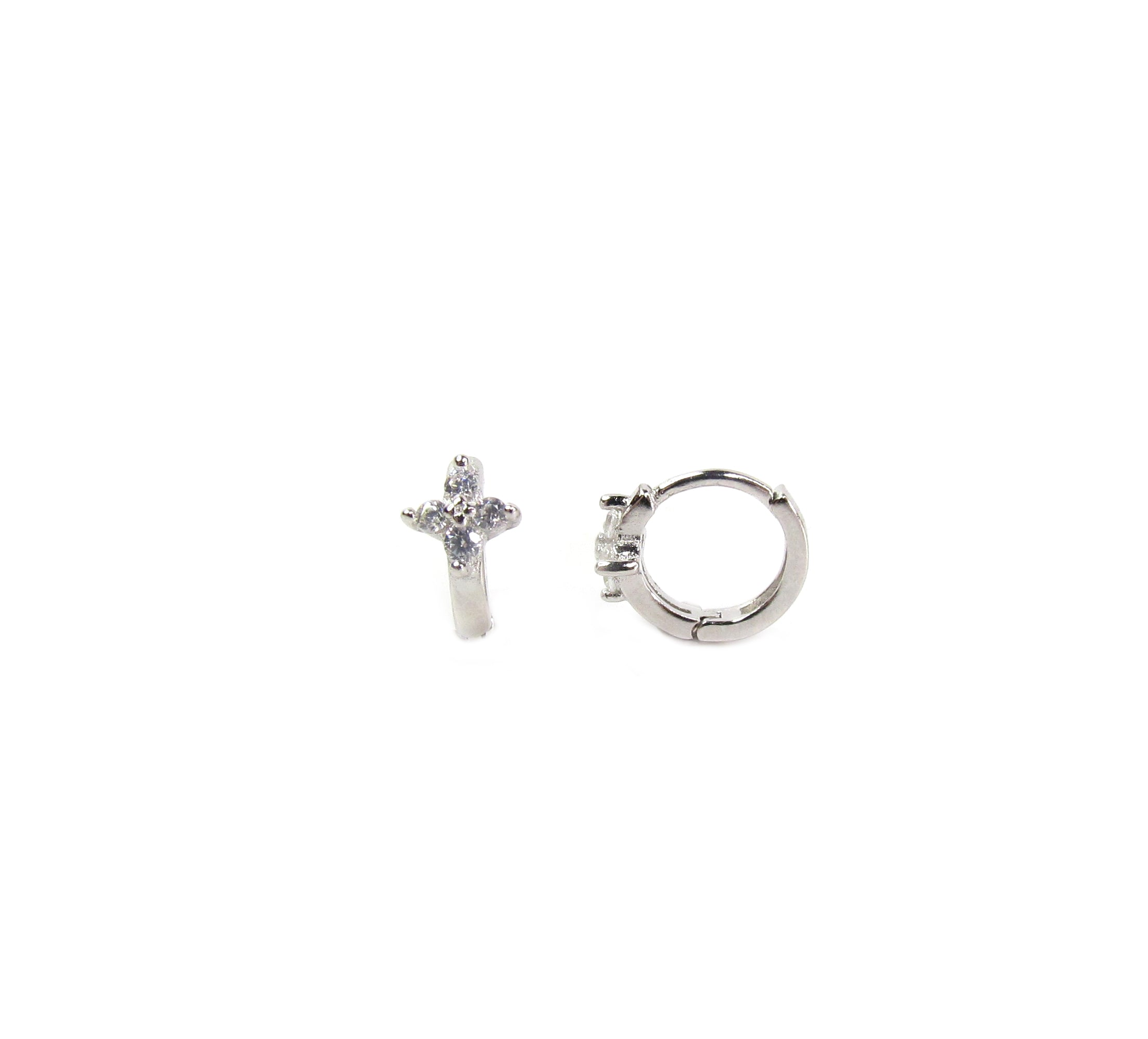 CZ Tiny Flowering Huggie Hoops