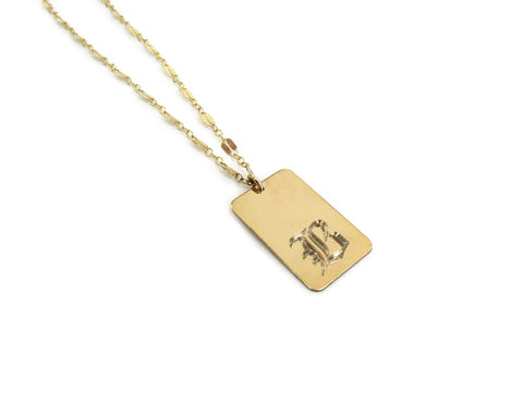 Engraved Old English Initial Dog Tag Necklace