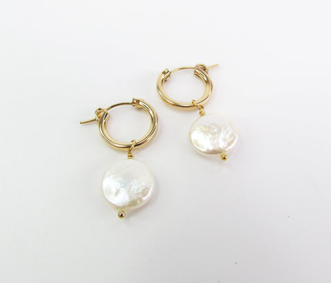 Coin Pearls Hoops