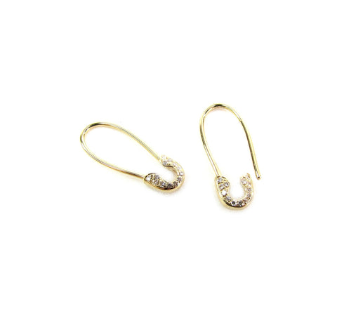 14k Diamond Safety Pin Earring • Single or Pair
