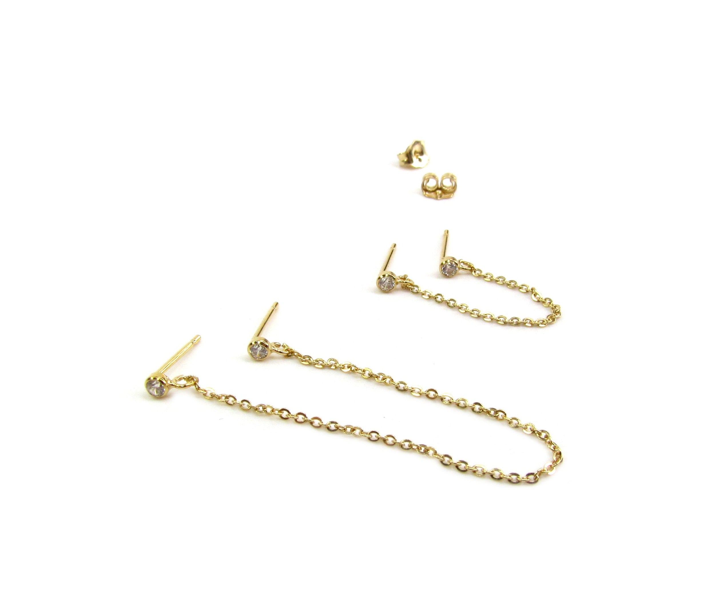 Double CZ Handcuff Chain Earrings