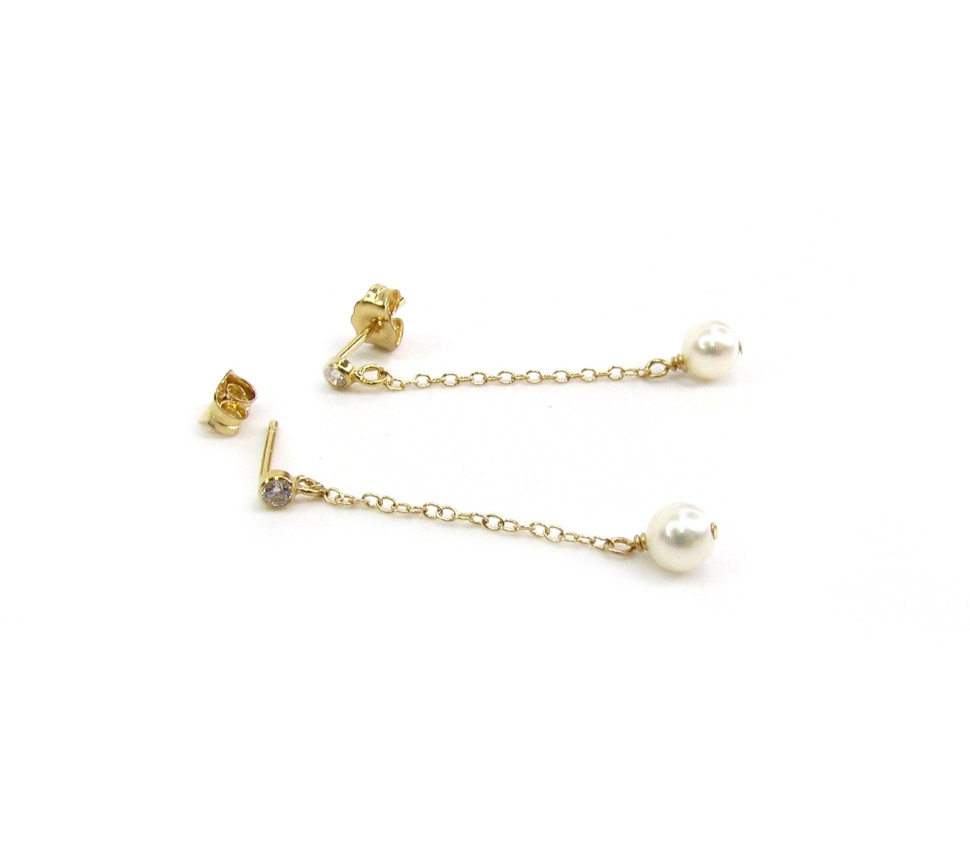 CZ Dangle Pearl Earrings
