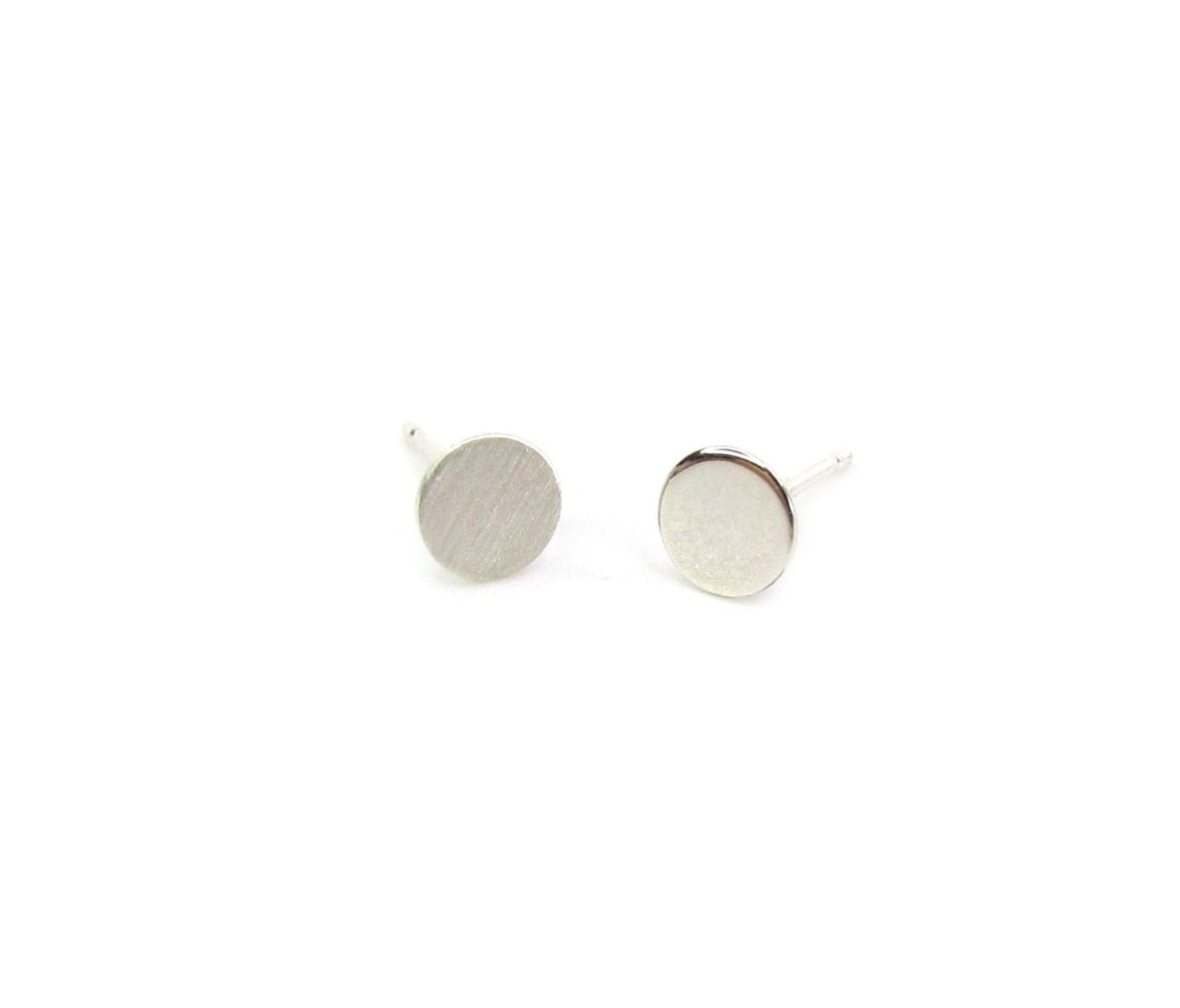 Sterling Round Disc Thumbtack Earring