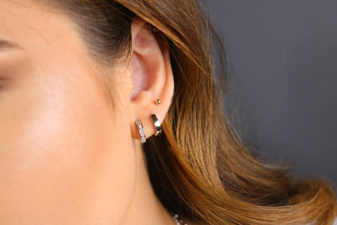 Squared Huggie Hoop Earrings