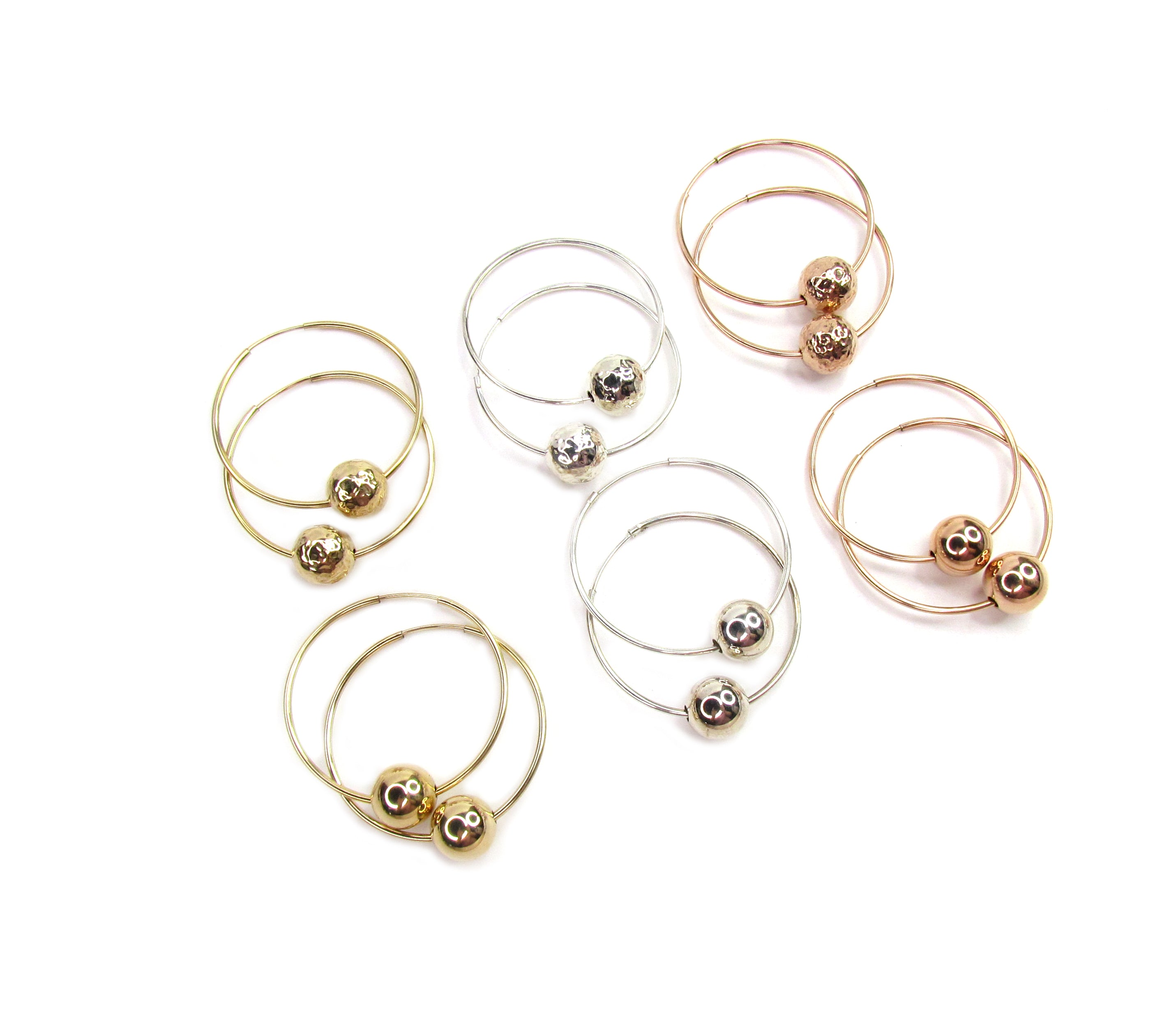 Modern Bead Hoop Earrings