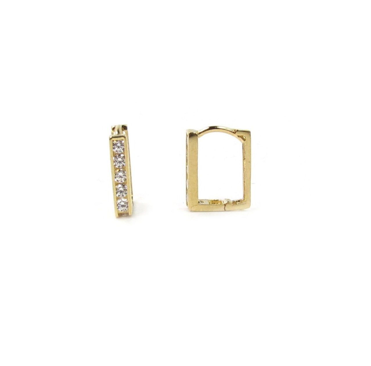 14k Mini Square CZ Hoops