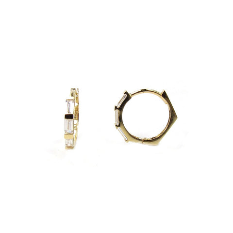 14K CZ Baguette Octagon Hoop Earrings