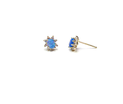 14K Solid Gold Blue Opal Stud Earrings