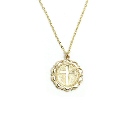 Sign of the Cross Coin Necklace