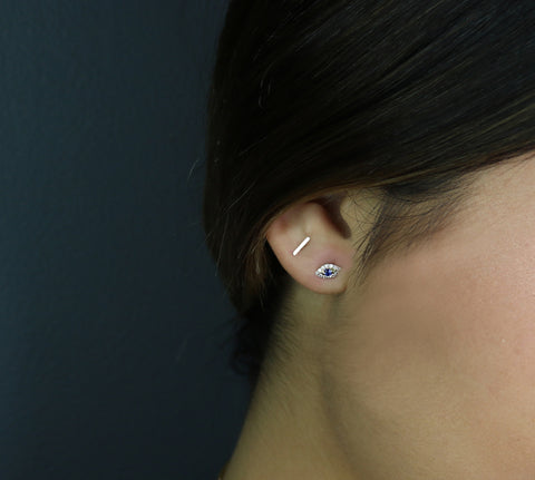14K Tiny Bar Staple Post Earrings