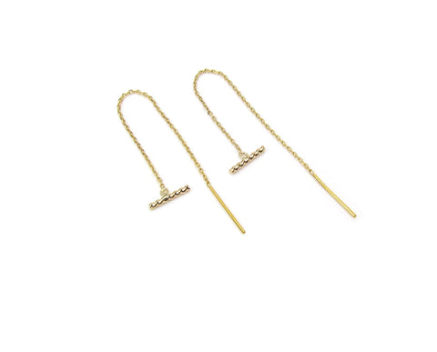14K Solid Gold Twist Bar Threader Earrings