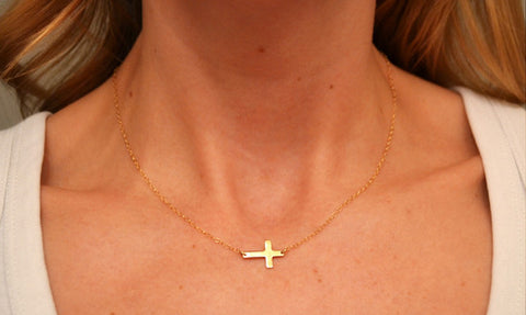 14K Tiny Sideways Cross Necklace