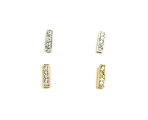 Tiny Bar Earrings with Cubic Zirconia