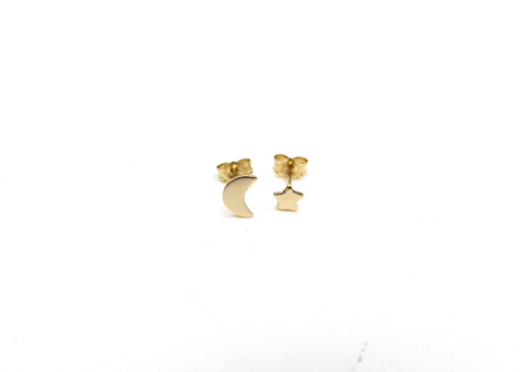 14KT Solid Gold Moon and Star Studs • Mis-Matched PAIR
