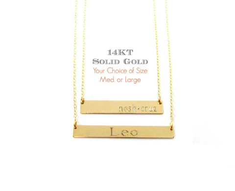14KT Solid Gold Personalized Bar Necklace