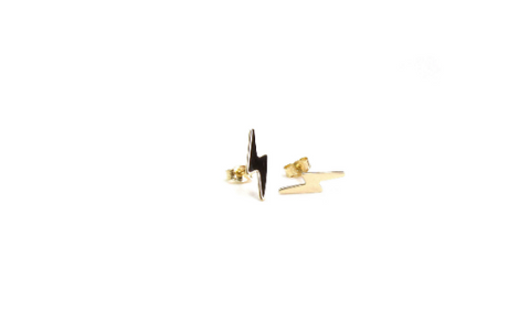 14K Solid Gold Lightning Bolt Studs