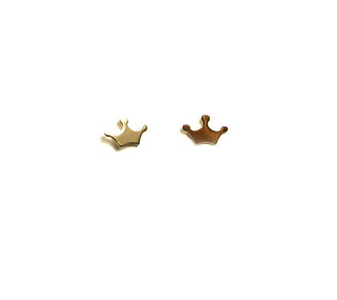 14K Solid Gold Tiny Crown Stud Earrings