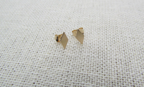 14K Solid Gold Diamond Shape Studs