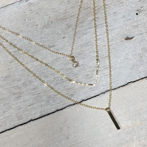 Set of 3 Layering Necklaces • CZ, Hammered Chevron, Tiny Bar